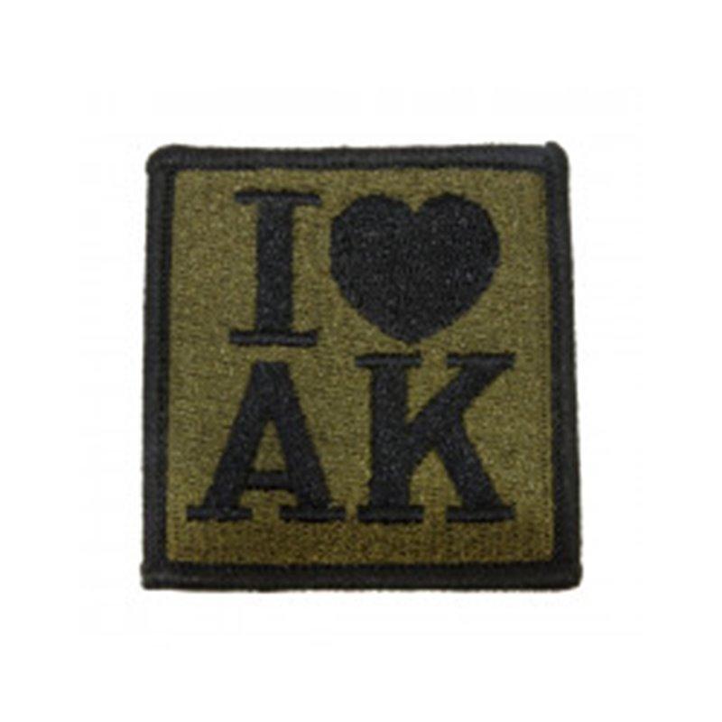 "Нашивка на липучке ""I ♥ AK"" олива, прямоугольная"