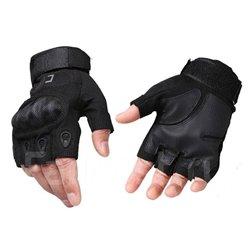 Перчатки CQB с карбоновыми вставками беспалые черные
