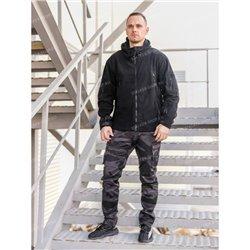 Куртка флисовая с капюшоном, черная, rep-010black